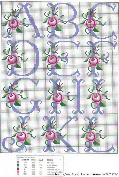Rose Lettering Cross Stitch