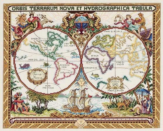 World Map in Cross Stitch