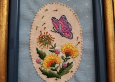 Butterfly Embroidery flowers by Lady Alice