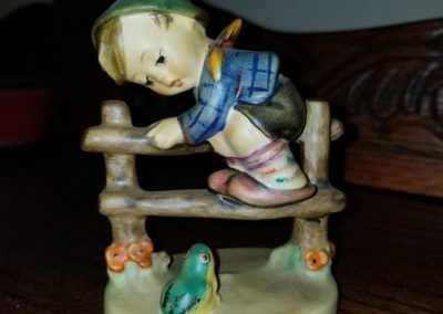 """Retreat To Safety"" Goebel Hummel Figurine #201 2/0  Boy On Fence With Frog"