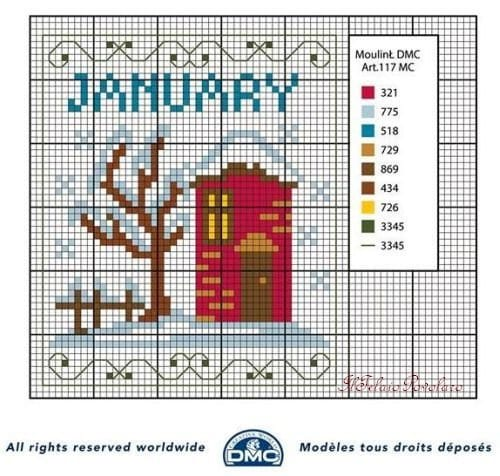 Months for Calendars Cross Stich
