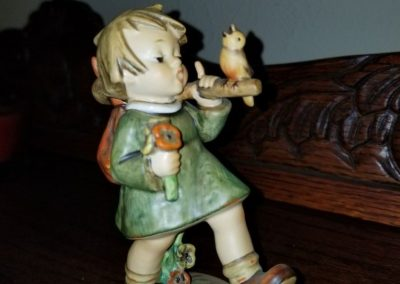 Hummel Figurine GAY ADVENTURE #356  Girl in Green Dress with Bird and Stick