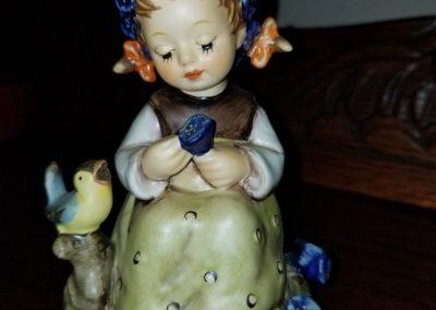 """Botanist"" Goebel Hummel Figurine #351  Girl With Blue Bird & Flowers"