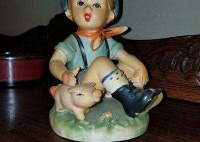 LARGE Vintage JAPAN Hummel-Look Boy with Pig Figurine, Sitting Farmer Boy Porcelain Statue, Matte Glaze
