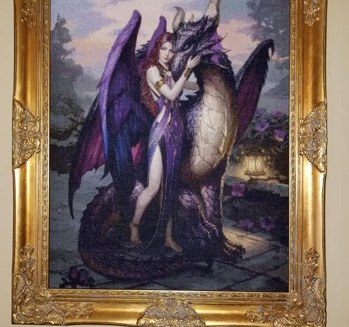 Lady and Dragon in Purple